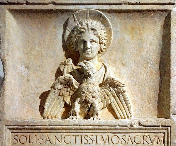 Sol Invictus  Stele with Sol Invictus  1st century CE, Capitoline Museum.