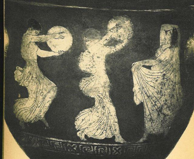 Bacchantes Dancing to a Tympanon, Detail of a red figure on a black background. About 450 B.C.E. (Paris, Louvre)