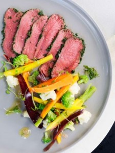 Venison carpaccio with pickled vegetables