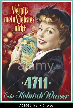 """advertising, cosmetics, perfume, ""4711"", Echt Kolnisch Wasser, 1950s, 50s, poster, design by RH, fine arts, perfume, toilet w"