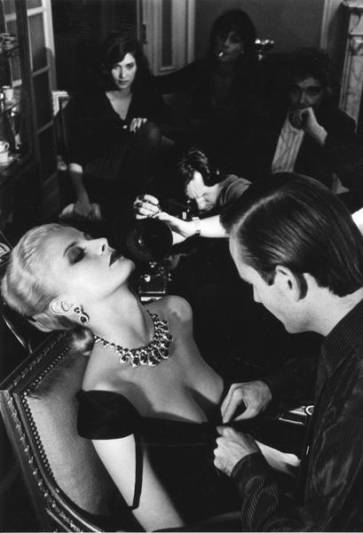 French Vogue 1980  Givenchy dress and Bulgari jewels Photo Helmut Newton.