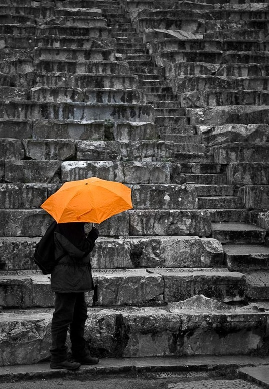 Epidaurus Theatre on a rainy day, by Christina Veneti
