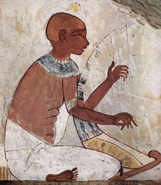 El arpista. Fresco en una tumba egipcia