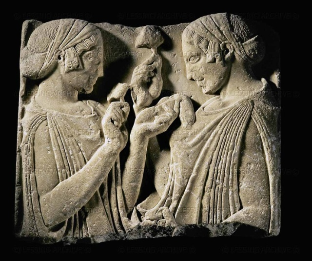Hellenistic relief,5th BCE Demeter and Core Exaltation on the flower,470-460 BCE,Pharsale, Tessalia.Greece- Louvre Museum