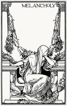 Ay, in the very temple of delight Veil'd Melancholy has her sovran shrine. Robert Anning Bell, from Poems by John Keats, London, New York, 1897.