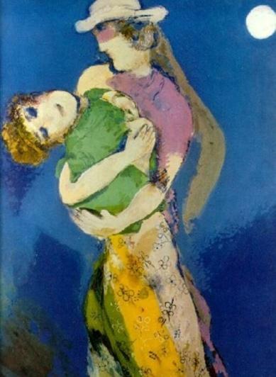 Marc Chagall, Amantes con claro de luna (1938)