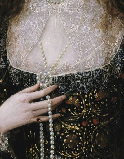Robert Peake the Elder  Lady Anne Pope (details), 1615.