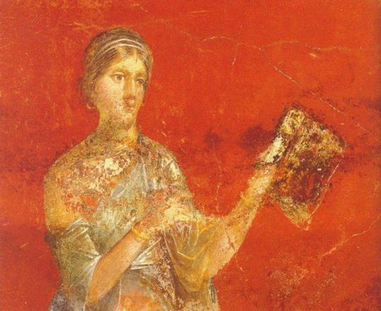 Clio.-Musa-da-História.-Fresco.-Detalhe.-Moregine-Triclinium-A-Século-I-DC.-Pompeia