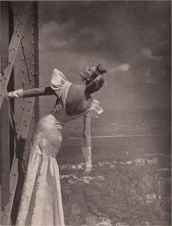 Model wearing Mainbocher dress at the Eiffel Tower, Harper's Bazaar, 1939