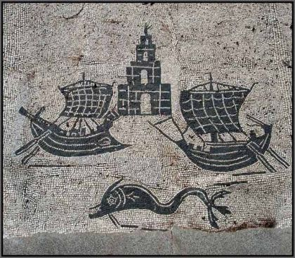 Ostia Antica, Foro delle Corporazioni con pavimento a mosaico, navi e faro