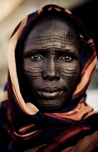 Sudanese man with face scarification