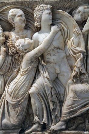 Detail Roman sarcophagus. Achilles. Lycomedes. Getty museum. (detail)