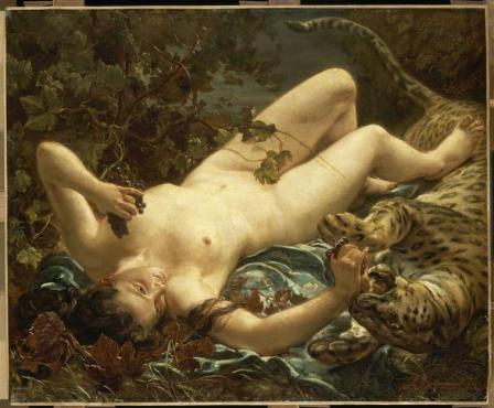 Louis Antoine Riesener La baccante Erigone gioca con la pantera 1855 Parigi Louvre by Ackteon