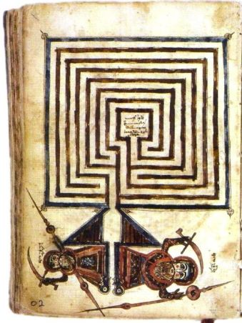 An ancient Syriac manuscript showing the Jericho labyrinth, Library of Beirut, Lebanon.