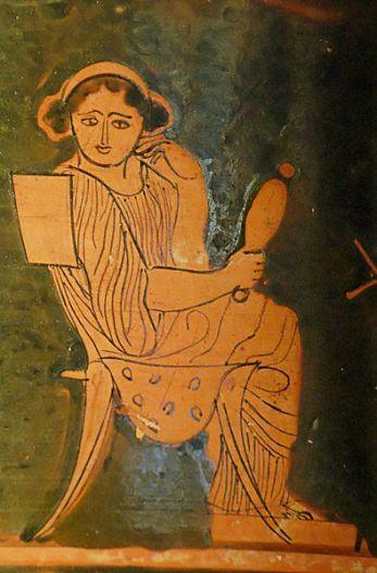 Mujer con espejo. Píxide ática de figuras rojas, c. 430 a. C.