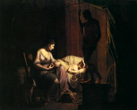 Joseph_Wright_of_Derby._Penelope défaisant sa toile 1785
