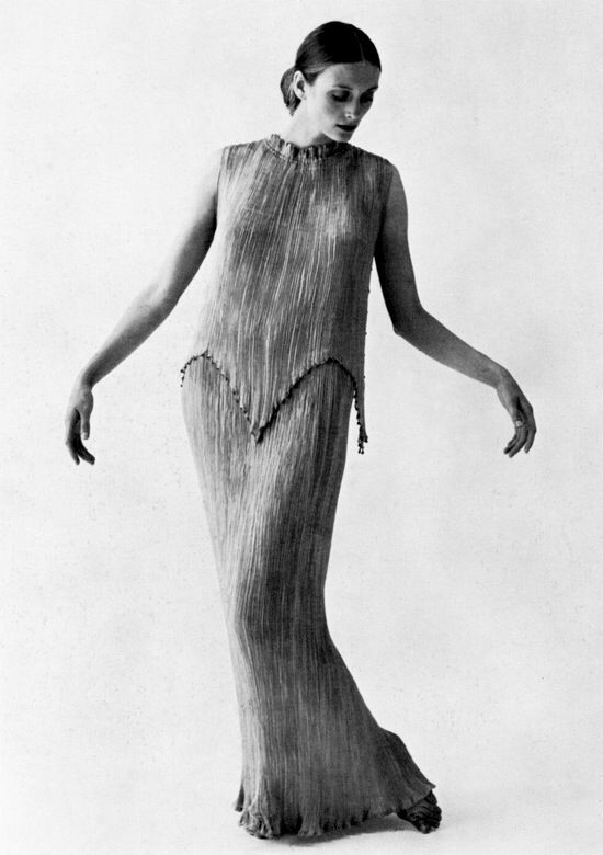 Fortuny Delphos with short tunic, photographed by Cecil Beaton.