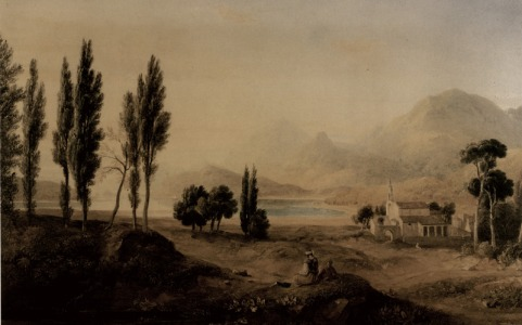Corfu; the gardens of Alcinous, water-colour by H. W. Williams.