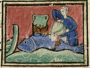 (Marinero cocinando una ballena) Bibliothèque Nationale de France, lat. 14429, Folio 118r