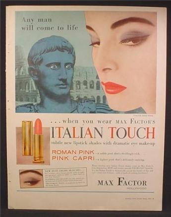 Magazine Ad For Max Factor Italian Touch, Lipstick, Roman Pink, Pink Capri, Cosmetics, 1957