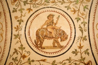 Mosaic of Dionysus riding a Tiger