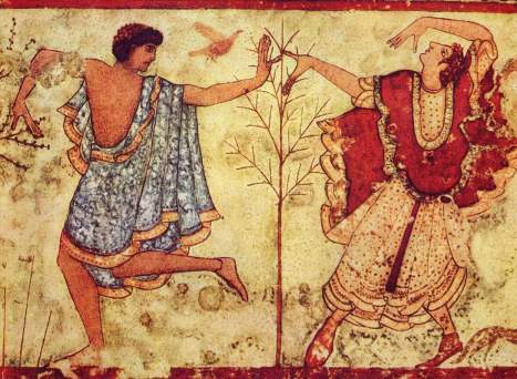 Etruscan dancers in the Tomb of the Triclinium near Tarquinia, Italy (470 BC)