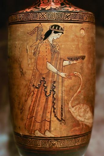 Artemisa, lekythos figuras rojas V a.C., Museo Estatal del Hermitage
