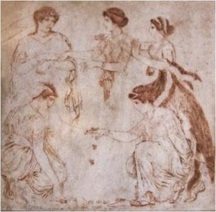 Leto y Niobe-pintura romana-Herculano-SI dC-Museo Arq Nap