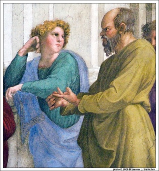 060905-162602 Socrates and Xenophon in Raphael's 'The School of Athens' in Stanza della Segnatura