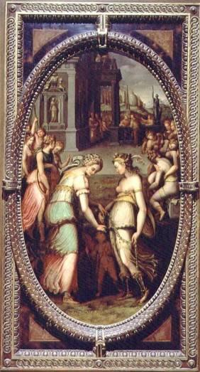 BEN82523 Juno borrowing the Girdle of Venus, 1572 (oil on slate) by Coscia, Francesco del (fl.1572-76) oil on slate Palazzo Vecchio (Palazzo della Signoria) Florence, Italy Italian, out of copyright