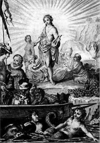 Portada de Viage del Parnaso (1614), con retrato de Miguel de Cervantes.