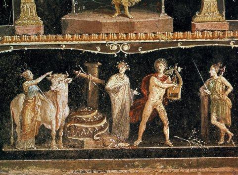 Pompeya Casa-de-los-vetti-Fresco que describe la muerte de la serpiente Pitón a manos del dios Apolo