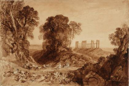 The Temple of Aphaia at Aegina ('The Temple of Jupiter in the Island of Aegina') circa 1816 Joseph Mallord William Turner 1775-1851 Bequeathed by Henry Vaughan 1900 http://www.tate.org.uk/art/work/D08173