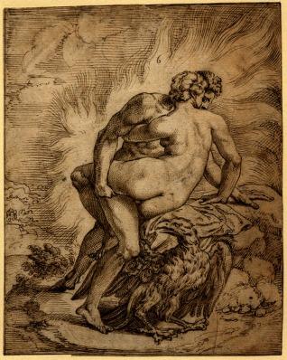 niccolò d´abbate, júpiter haciéndole el amor a egina