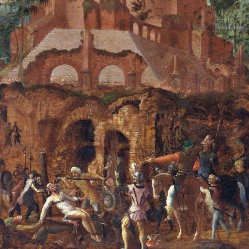 craso-lancelot-blondel-los-partos-vierten-oro-fundido-por-la-garganta-del-cadaver-de-craso-siglo-xvi-museo-groeninge-brujas