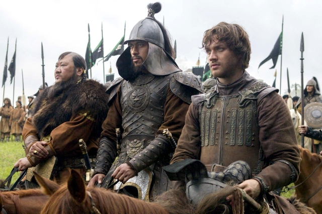 "TV STILL -- DO NOT PURGE -- (L-R) Benedict Wong, Uli Latukefu and Lorenzo Richelmy in a scene from Netflix's ""Marco Polo."" Photo Credit: Phil Bray for Netflix. EP8"