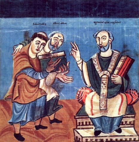 rabano-mauro-accompagnato-da-alcuino-al-centro-nellatto-di-presentare-un-libro-allarcivescovo-di-magonza-otgar-manuscriptum-fuldense-ca-831-840-osterreichische-nationalbibli